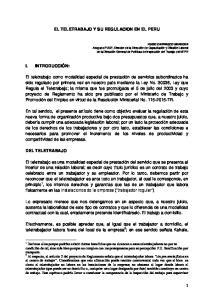 EL TELETRABAJO Y SU REGULACION EN EL PERU