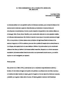 EL TEMA HOMOSEXUAL EN LA NARRATIVA MEXICANA DEL SIGLO XX