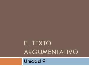 EL TEXTO ARGUMENTATIVO. Unidad 9
