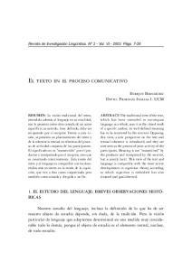 EL TEXTO EN EL PROCESO COMUNICATIVO