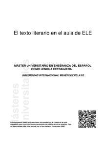 El texto literario en el aula de ELE