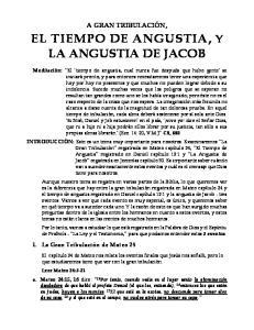EL TIEMPO DE ANGUSTIA, Y LA ANGUSTIA DE JACOB