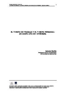 EL TIEMPO DE TRABAJO Y EL TIEMPO PERSONAL: UN CONFLICTO DE INTERESES