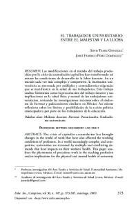 EL TRABAJADOR UNIVERSITARIO: ENTRE EL MALESTAR Y LA LUCHA