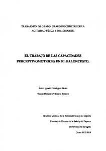 EL TRABAJO DE LAS CAPACIDADES PERCEPTIVOMOTRICES EN EL BALONCESTO