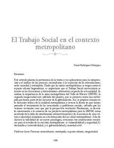 El Trabajo Social en el contexto metropolitano