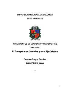 El Transporte en Colombia y en el Eje Cafetero