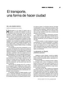 El transporte, una forma de hacer ciudad