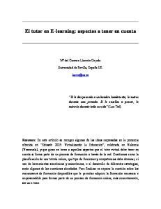 El tutor en E-learning: aspectos a tener en cuenta