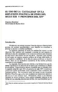 EL USO DE LA CAUSALIDAD EN LA REFLEXION POLITICA DE FINES DEL SIGLO XIII Y PRINCIPIOS DEL XIV*