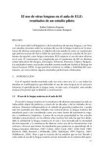El uso de otras lenguas en el aula de ELE: resultados de un estudio piloto
