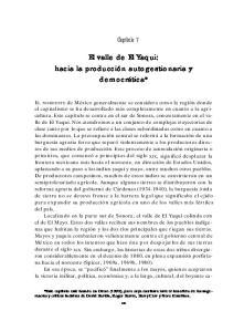 El valle de El Yaqui: hacia la producción autogestionaria y democrática*