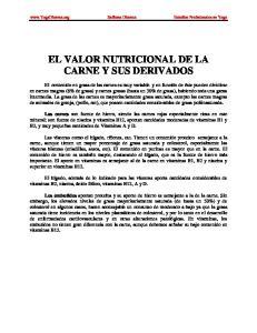 EL VALOR NUTRICIONAL DE LA CARNE Y SUS DERIVADOS
