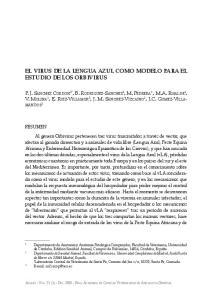 EL VIRUS DE LA LENGUA AZUL COMO MODELO PARA EL ESTUDIO DE LOS ORBIVIRUS