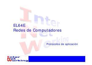 EL64E Redes de Computadores. Protocolos de aplicación