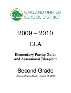 ELA. Elementary Pacing Guide and Assessment Blueprint. Second Grade (Revised Pacing Guide - August 11, 2009)