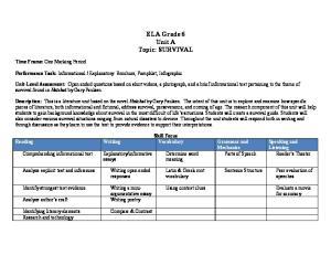 ELA Grade 6 Unit A Topic: SURVIVAL