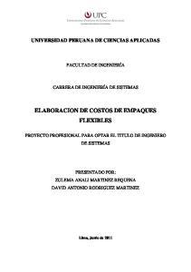 ELABORACION DE COSTOS DE EMPAQUES FLEXIBLES