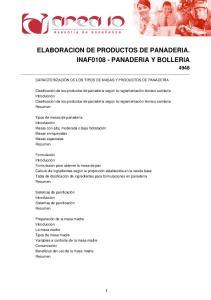 ELABORACION DE PRODUCTOS DE PANADERIA. INAF PANADERIA Y BOLLERIA