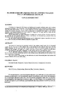 ELABORACION DE PROYECTOS DE CENTRO BASADOS EN LA DIVERSIDAD ESCOLAR