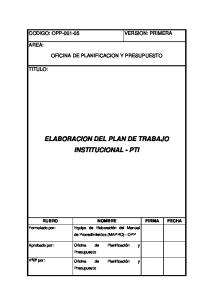 ELABORACION DEL PLAN DE TRABAJO INSTITUCIONAL - PTI