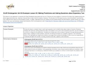 ELAR Kindergarten Unit 04 Exemplar Lesson 02: Making Predictions and Asking Questions about Expository Text