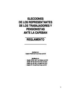 ELECCIONES DE LOS REPRESENTANTES DE LOS TRABAJADORES Y PENSIONISTAS ANTE LA CAFEBAN REGLAMENTO
