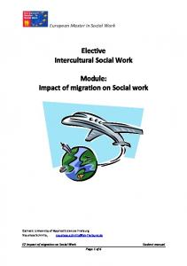 Elective Intercultural Social Work. Module: E2 Impact of migration on Social Work