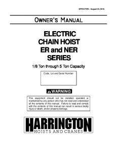 ELECTRIC CHAIN HOIST ER and NER SERIES