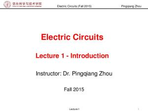 Electric Circuits Lecture 1 - Introduction
