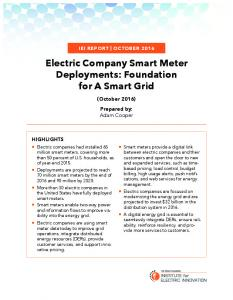 Electric Company Smart Meter Deployments: Foundation for A Smart Grid