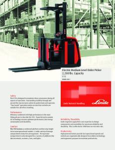 Electric Medium Level Order Picker 2,200 lbs. Capacity