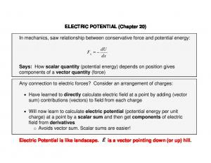 ELECTRIC POTENTIAL (Chapter 20) In mechanics, saw relationship between conservative force and potential energy: du dx