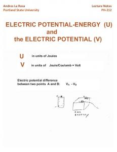 ELECTRIC POTENTIAL-ENERGY (U) and the ELECTRIC POTENTIAL (V)
