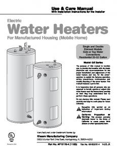 Electric Water Heaters. For Manufactured Housing (Mobile Home)