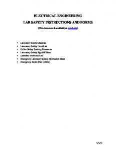 ELECTRICAL ENGINEERING LAB SAFETY INSTRUCTIONS AND FORMS