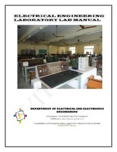 ELECTRICAL ENGINEERING LABORATORY LAB MANUAL