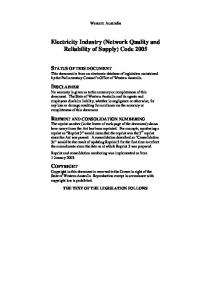 Electricity Industry (Network Quality and Reliability of Supply) Code 2005