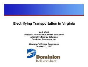 Electrifying Transportation in Virginia