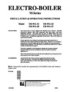 ELECTRO-BOILER. TS Series INSTALLATION & OPERATING INSTRUCTIONS