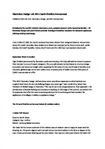 Electrolux Design Lab 2011 Semi-Finalists Announced