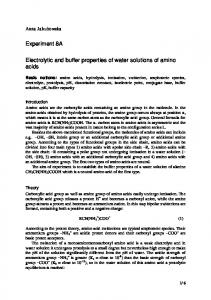 Electrolytic and buffer properties of water solutions of amino acids