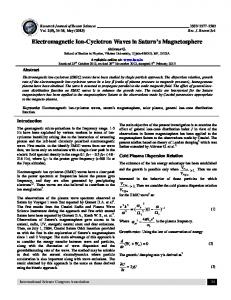 Electromagnetic Ion-Cyclotron Waves in Saturn s Magnetosphere
