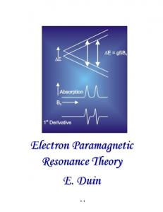 Electron Paramagnetic Resonance Theory E. Duin 1-1