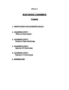 ELECTRONIC COMMERCE. Contents
