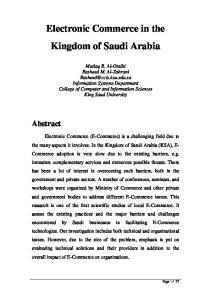Electronic Commerce in the Kingdom of Saudi Arabia