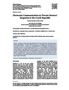 Electronic Communication in Private Doctors Surgeries in the Czech Republic