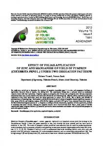 ELECTRONIC JOURNAL OF POLISH AGRICULTURAL UNIVERSITIES
