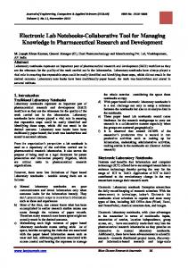Electronic Lab Notebooks-Collaborative Tool for Managing Knowledge in Pharmaceutical Research and Development