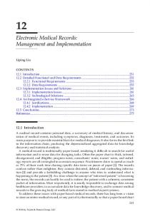 Electronic Medical Records: Management and Implementation